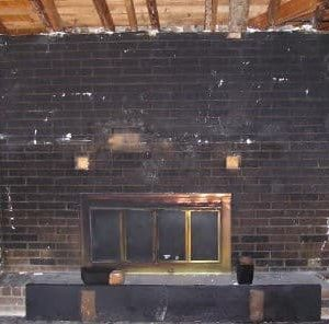 Fireplace before soda blast